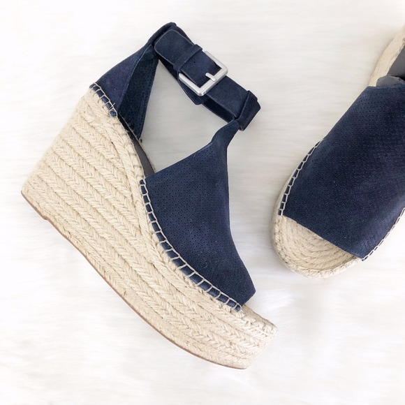 7a787dc3697 Marc Fisher LTD Annie Blue Perforated Espadrille NWT